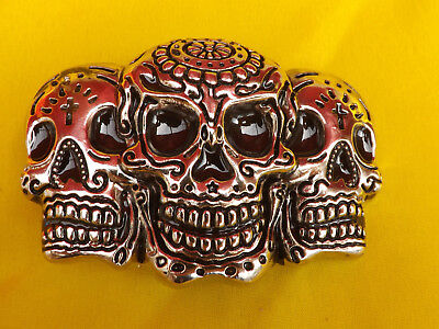 3D  DAY OF THE DEAD SKULL METAL BELT BUCKLE Celebre el Muerto