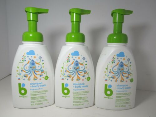 Babyganics Baby Shampoo + Body Wash, Fragrance Free, 16 oz. (3 Pack) NEW