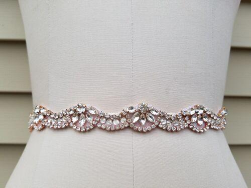 Wedding Belt, Bridal Belt, Sash Belt, Crystal Rhinestones with Rose Gold Accents
