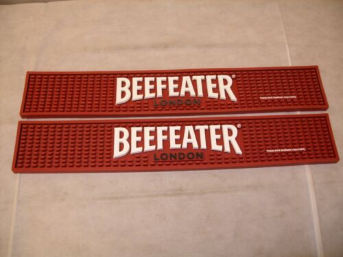 (2) Beefeater English Gin - Promo Branded Rubber Bar Rail Spill Mat - NEW