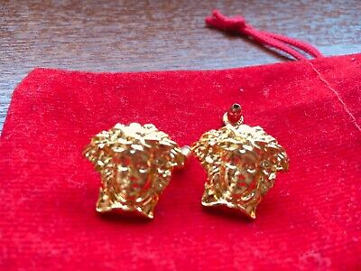 versaces style medusa head earing studs gold couour