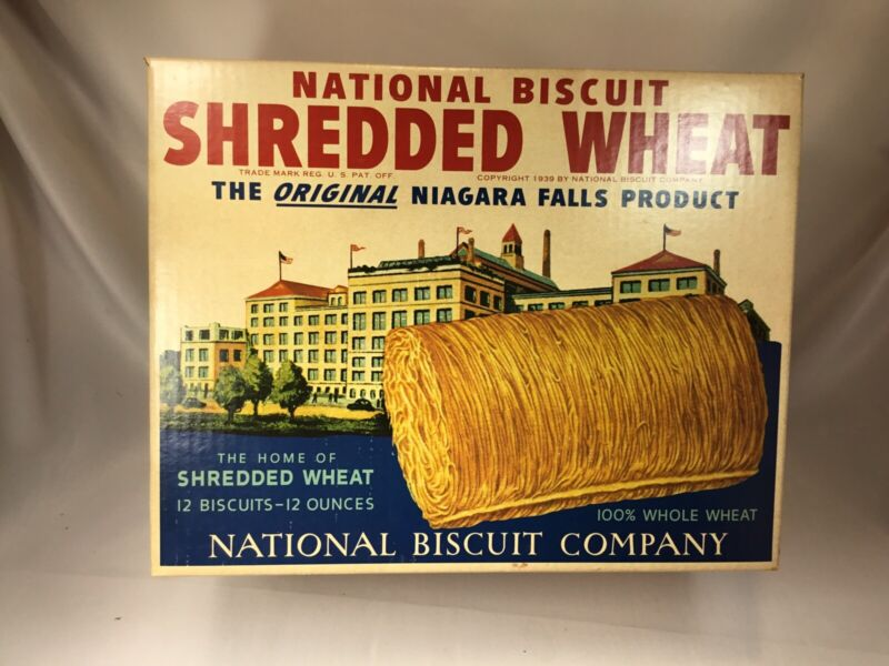 Vintage Shredded Wheat National Biscuit Company  Advertising Box LARGE c1940