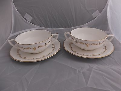 (197) Royal Worcester Gold Chantilly # 2 Soup Coupes Bowls & Saucers # EXC COND