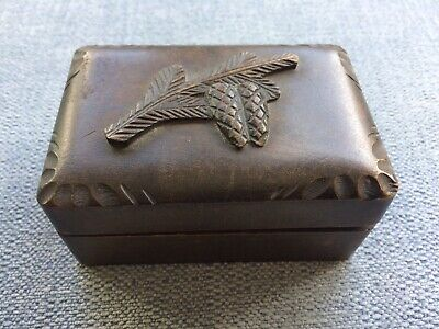 trinket wooden box with pine cone design on the top