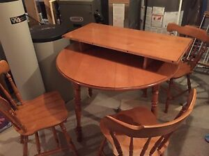 Wood Table w/ Leaf & 3 Chairs