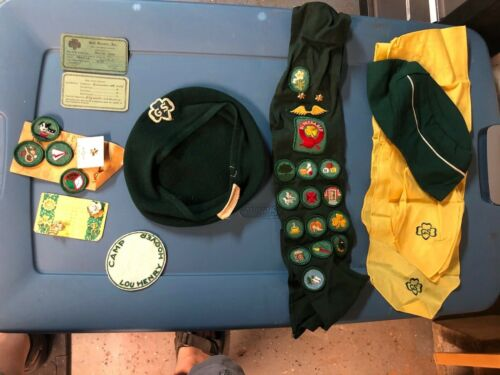 Lot of Girl Scout Items- Badges, Sashes, member cards, Patches, Pins...