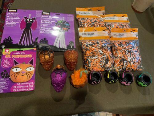 Lot of Halloween Goodies Crafts Packaging Skulls Baskets Fun