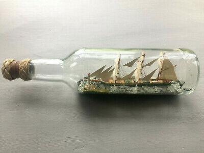 Vintage 3 mast model Ship in Glass Bottle Suffolk Makers Details Etched on base