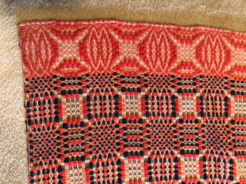 Antique Red, White & Blue Coverlet