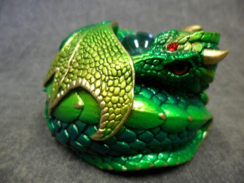 Windstone Editions NEW * Emerald Curled Dragon * Statue Figurine Fantasy