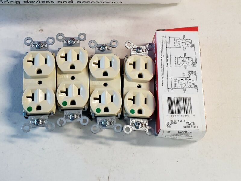 Lot of 4 Pass & Seymour 8300-HI Duplex Receptacle-Hospital Grade