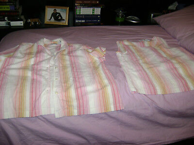 Cabin Creek Pink Striped XL 16 / 18 Casual Dress Tank Top & Button Up Shirt set