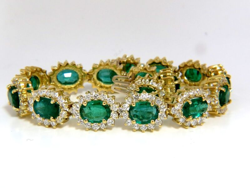 30.26ct Natural Zambia Vivid Green Emerald Diamonds Bracelet 8.5 Inch+