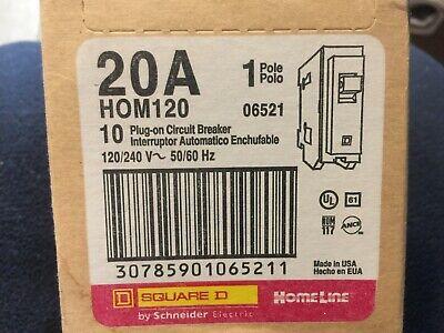 New Box Of 10 Pcs Sqd Hom120 Circuit Breaker 20 Amp 1 Pole 120v Square D