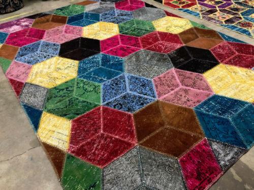 8x11 HANDMADE WOOL RUG HAND KNOTTED VINTAGE GEOMETRIC modern patchwork carpet