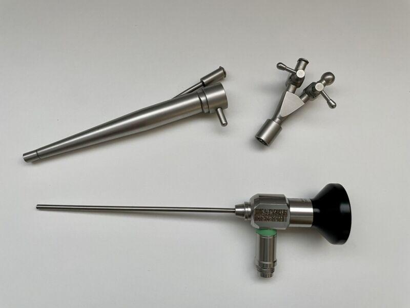 2.7mm x 100mm Rigid Otoscope, 0° View, 5Fr Biopsy, Sheath & 2-way Stopcock
