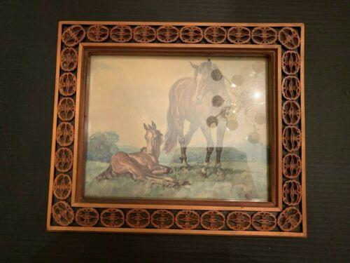 Vintage Folk Art Sliced Walnut Shell Wooden Frame With Horse Print