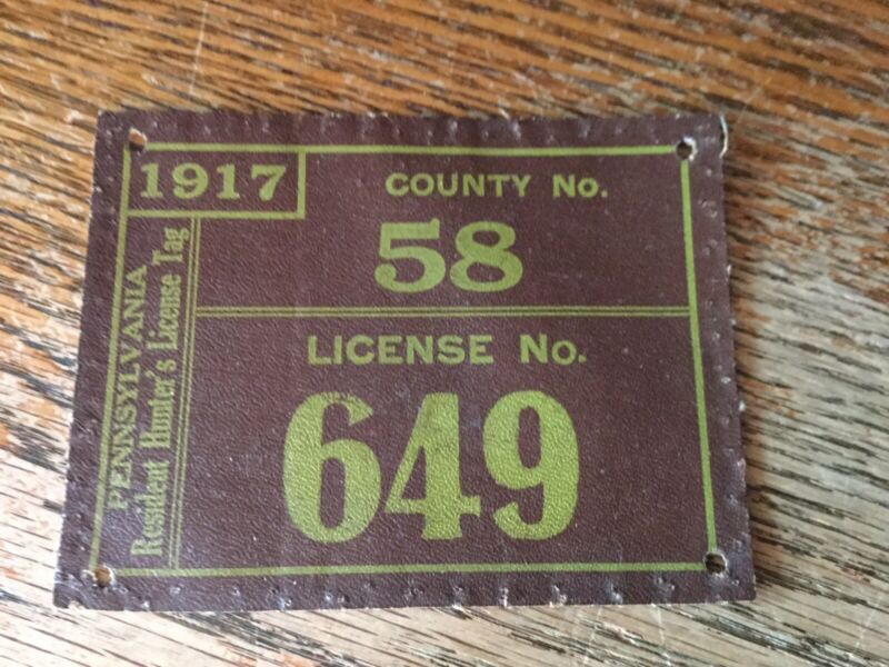 1917 Pa Cloth Hunting License Susquehanna County #58 ..Others Available also!