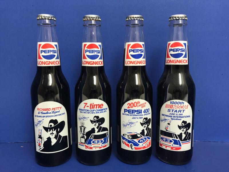 4 Richard Petty #43 Commemorative Longneck Pepsi Bottles