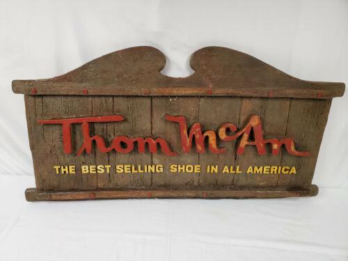 "ORIGINAL Vintage 22x42"" Thom McAn Shoe Store Wood Sign"