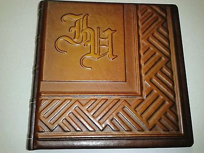 - Photo Album - Handmade Art Leather Gift Cover Personalized Initials 4x6in  #6