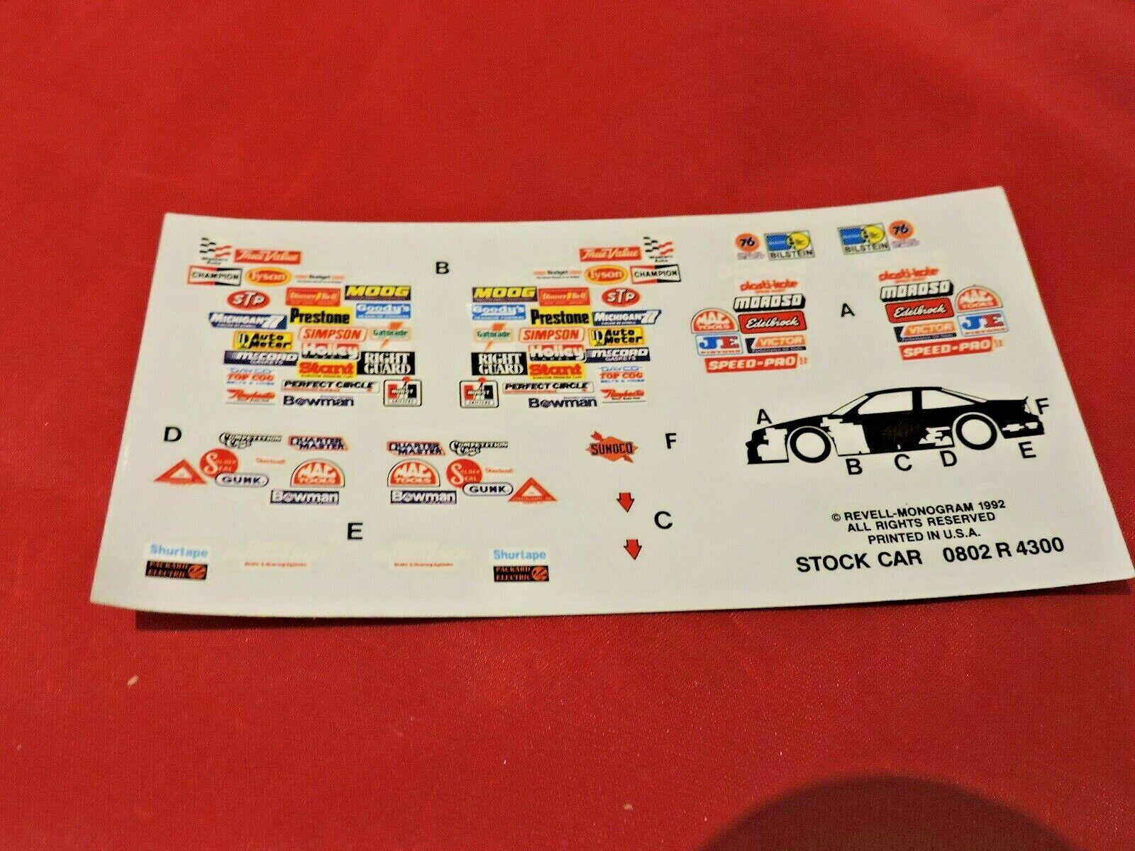 Car Parts - Model Car Parts Monogram Nascar Decal Sheet 1/24