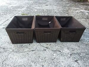 3 X Chocolate Storage Baskets- Laundry Linen or General Storage Ashfield Ashfield Area Preview