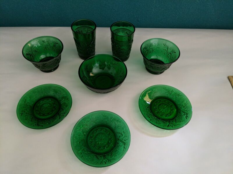 Vintage Anchor Hocking Forest Emerald Green Depression Glass Mixed Lot