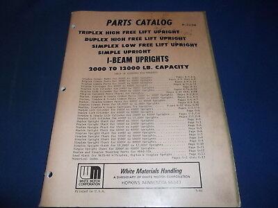 White High Free Lift Triplex I-beam Mast 2k-12k Forklift Parts Book Manual