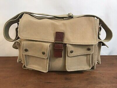 Tan Canvas Travel Messenger Carry-on Laptop Crossbody Soft Case Bag (B1) ()