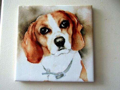 (2) BEAGLE DOG TILE COASTERS