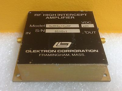 Olektron 0-hia-11-hf 20 Vdc Sma F-f Rf High Intercept Amplifier