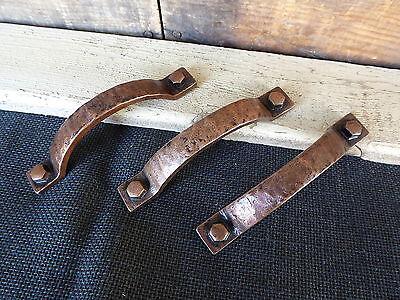 Antique Copper Hammered Metal Handle Drawer Pull - Rustic Vintage (Antique Copper Drawer Pull)