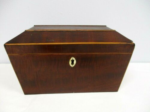 ANTIQUE WOOD TEA CADDY BOX