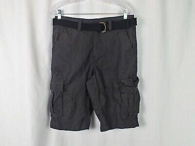 12 Pocket-cargo-shorts (Urban Pipeline Men's Belted 6 Pocket Cargo Shorts Charcoal/Black Sz 30 32