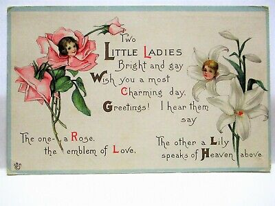 1919 POSTCARD TWO LITTLE LADIES, ONE A ROSE EMBLEM OF LOVE, OTHER A LILY OF HEAVEN