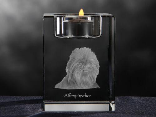 Affenpinscher, crystal candlestick with dog, souvenir, Crystal Animals USA