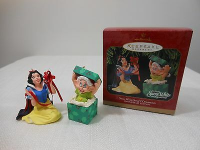 Disney Hallmark DOPEY & SNOW WHITE 7 Dwarfs 60th Anniversary Christmas Ornaments