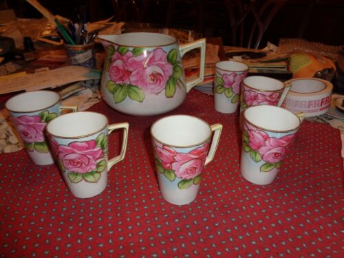 Antique Hand Painted Nippon China Lemonade Set Pitcher w/ 6 mugs Rose gildedNICE