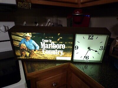 VTG Marlboro Country Lighted Sign With Clock
