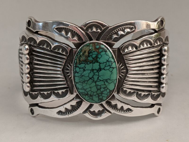 BIG Mens Navajo Turquoise Bracelet Sterling Silver - artist marked w/ Feather