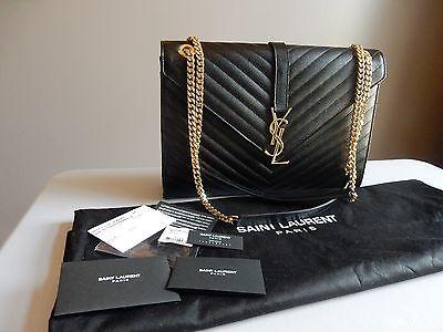 YSL Yves Saint Laurent Black Monogram Large Grained Chain Bag $2,590 BNWT!