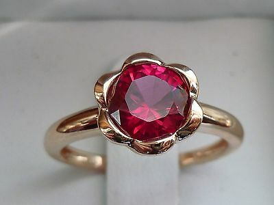 NEW Flower-Bezel Halo Lab Ruby Solitaire Ring Band- 10K Pink Rose Gold- Size 7 ()