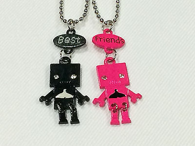 Best Friend Robot with Whale Tail on Belly 2 Pendant 2 Necklace Black / Pink