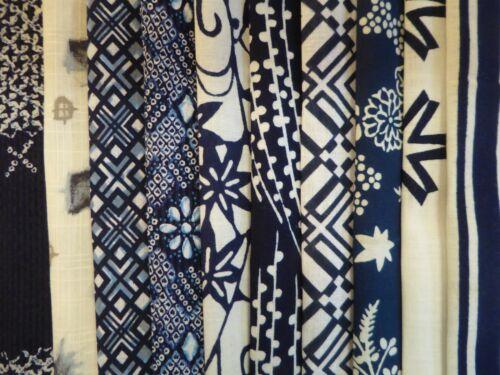 #102  Vintage Japanese Cotton Yukata Fabric Scrap Remnants, 10 Piece Bundle