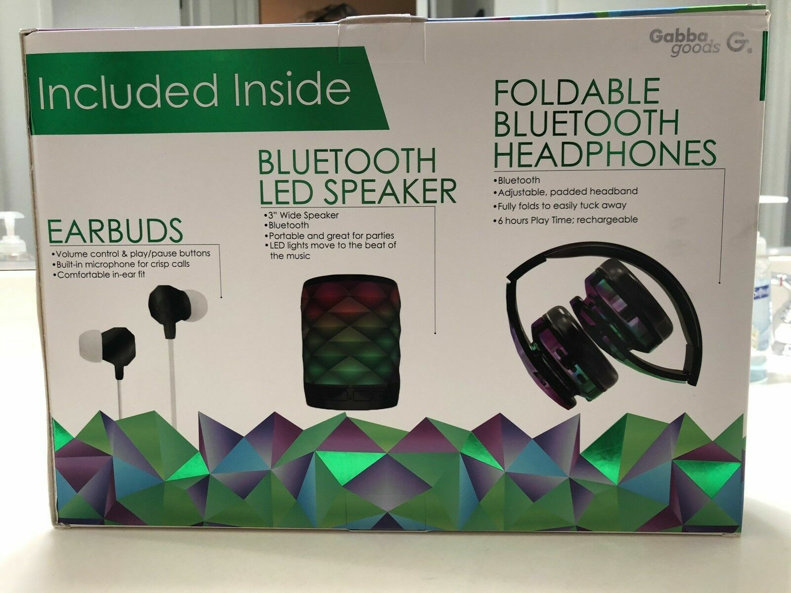 Gabba Goods Foldable Bluetooth Headphones With Bluetooth LED