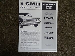 1970/71 HOLDEN COLOUR CHART BROCHURE 100% GUARANTEE.