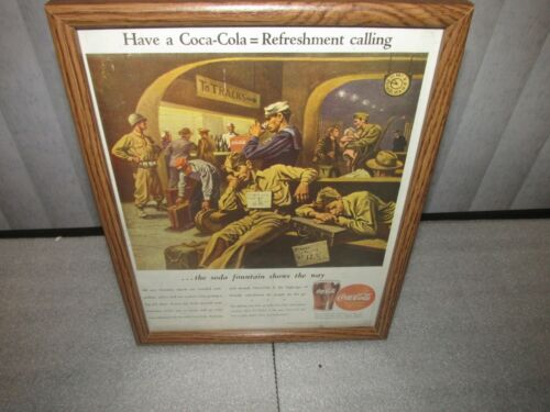 Coca Cola Advertisement 1944 Soldiers Train Station Soda Fountain framed
