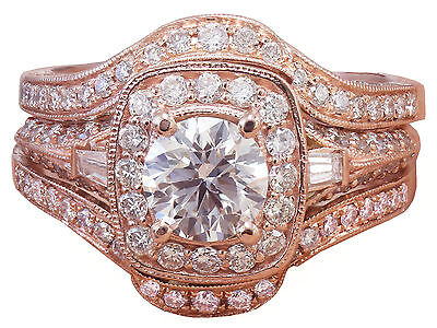 GIA H-VS2 14k Rose Gold Round Cut Diamond Engagement Ring And Bands 2.70ctw 1