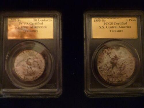 1855-So Chile Peso & 50c SS Central America Gold Label PCGS Certified Shipwreck
